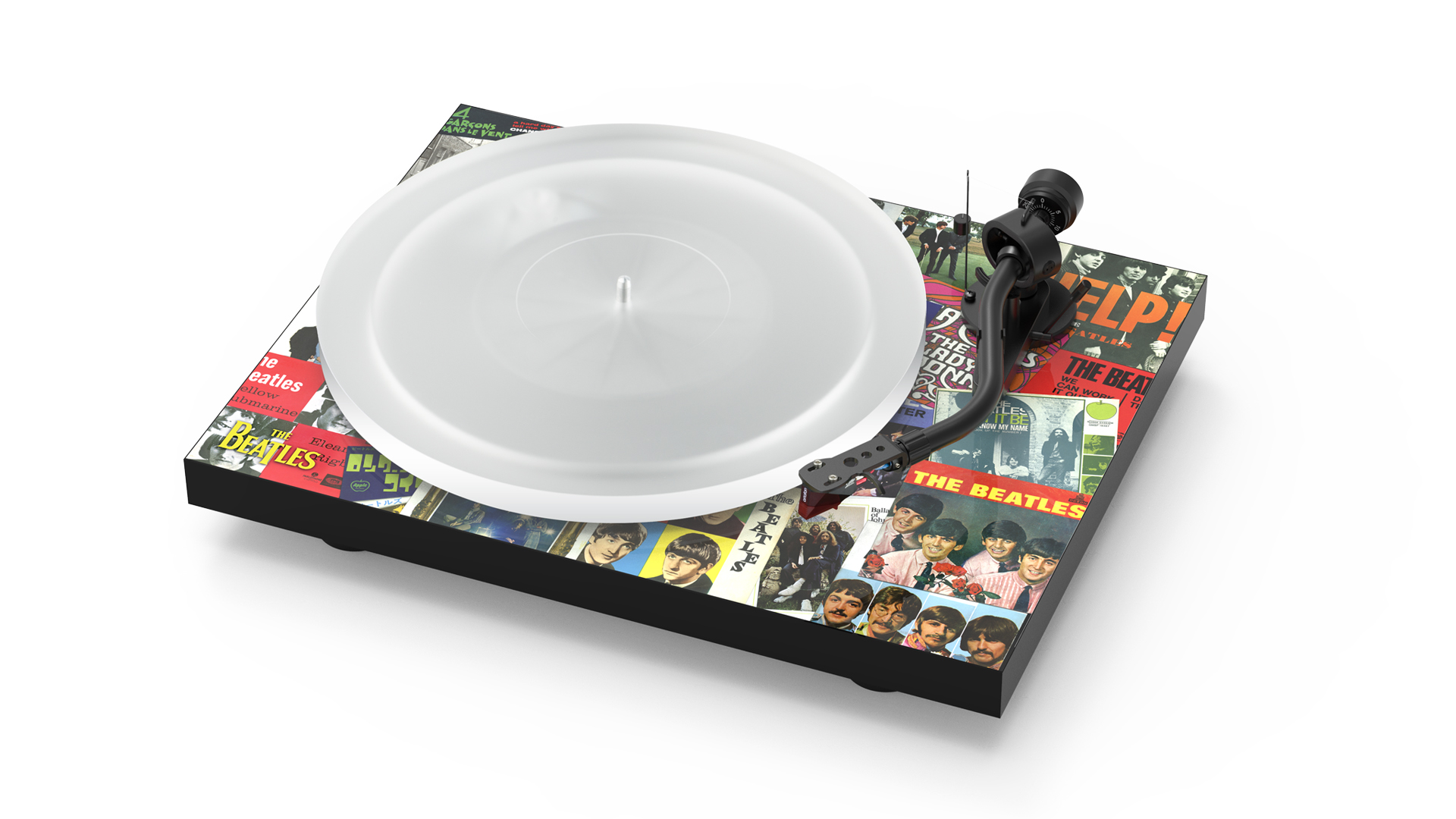 Turntable with singles motifs (Image: Pro-Ject)
